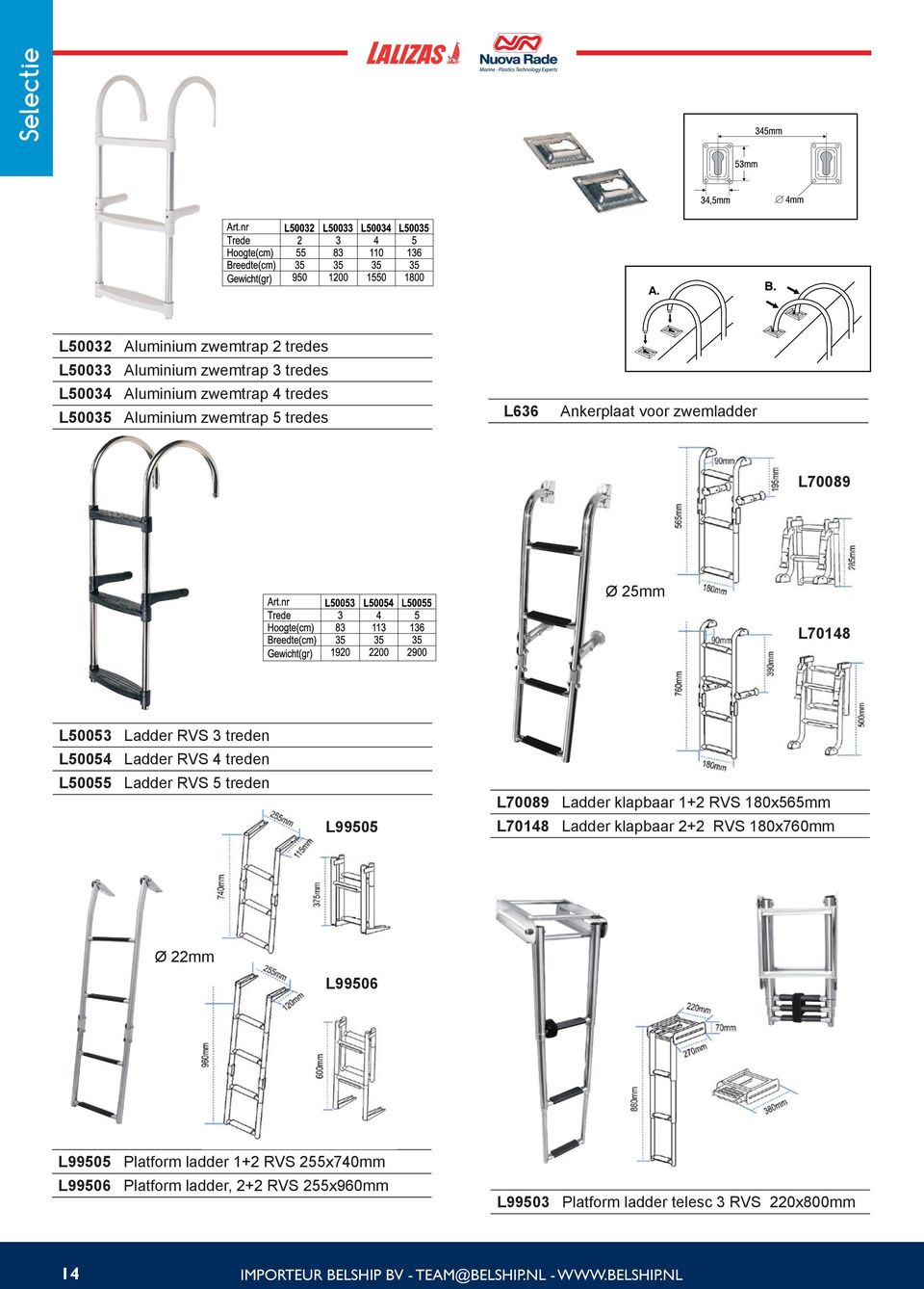 Ladder klapbaar 1+2 RVS 180x565mm L99505 L70148 Ladder klapbaar 2+2 RVS 180x760mm Ø 22mm L99506 L99505 Platform ladder 1+2 RVS 255x740mm