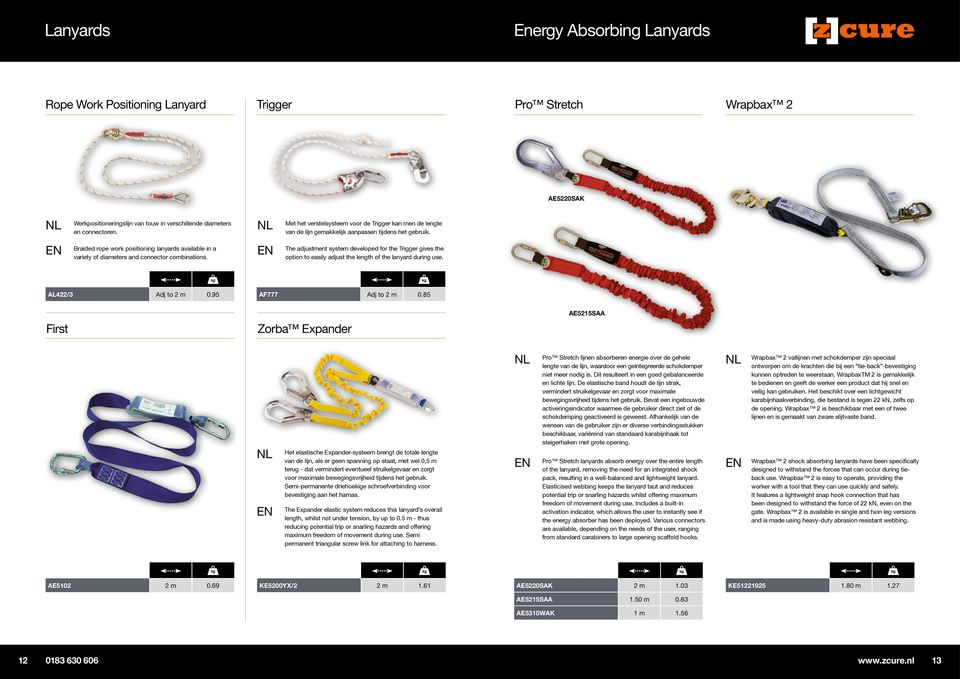 Braided rope work positioning lanyards available in a variety of diameters and connector combinations.