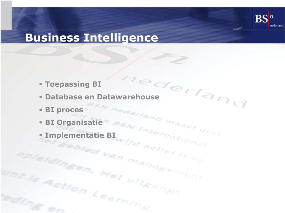 Datawarehouse BI proces