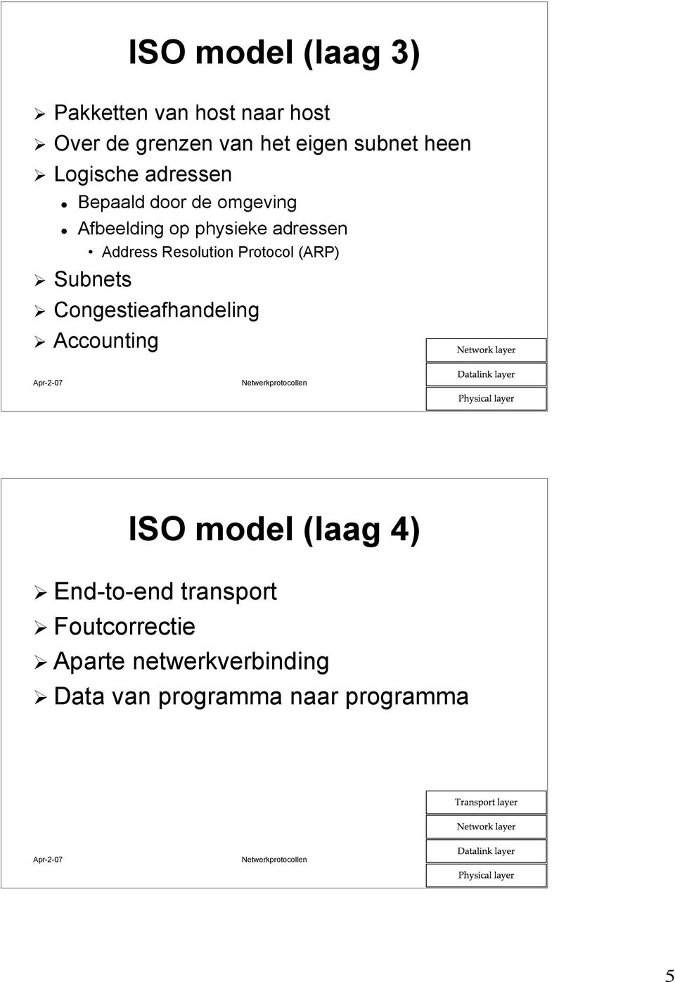 Subnets Congestieafhandeling Accounting Apr-2-07 Netwerkprotocollen 9 ISO model (laag 4) End-to-end
