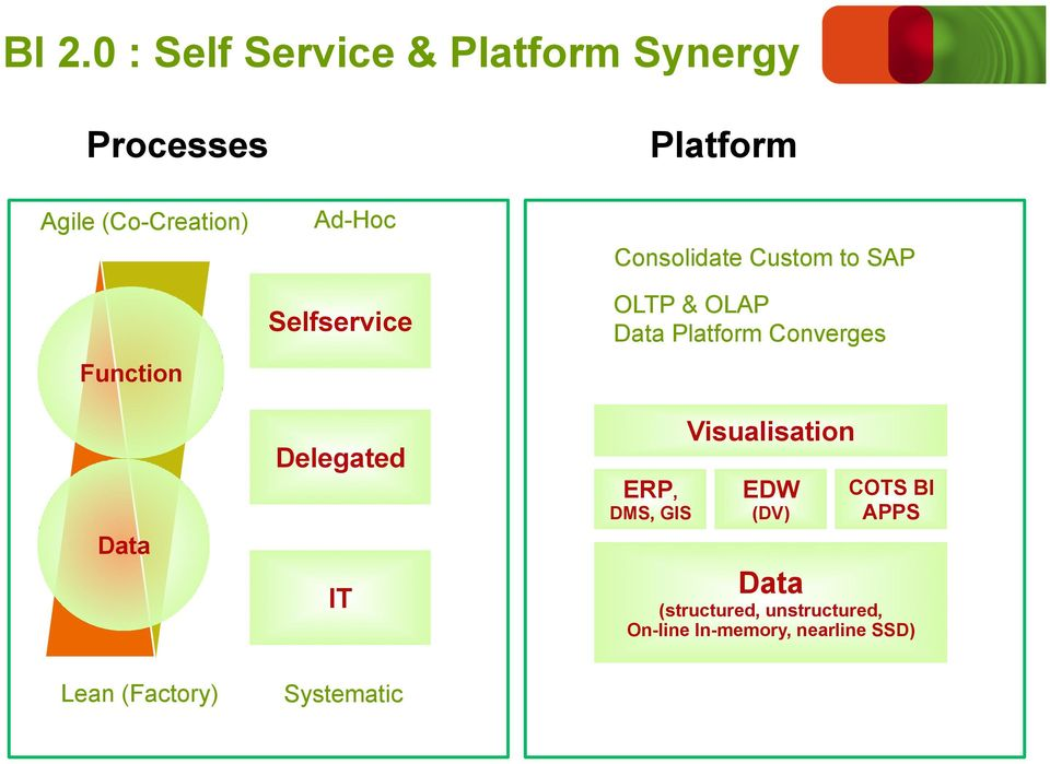 OLAP Data Platform Converges ERP, DMS, GIS Visualisation EDW (DV) COTS BI APPS