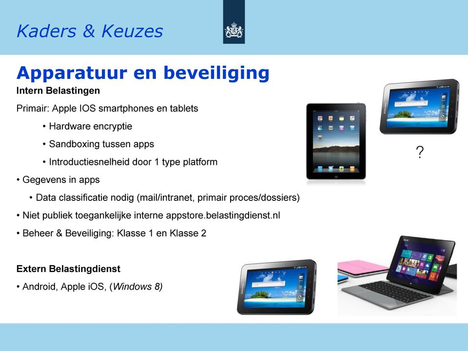 ! Gegevens in apps Data classificatie nodig (mail/intranet, primair proces/dossiers) Niet publiek