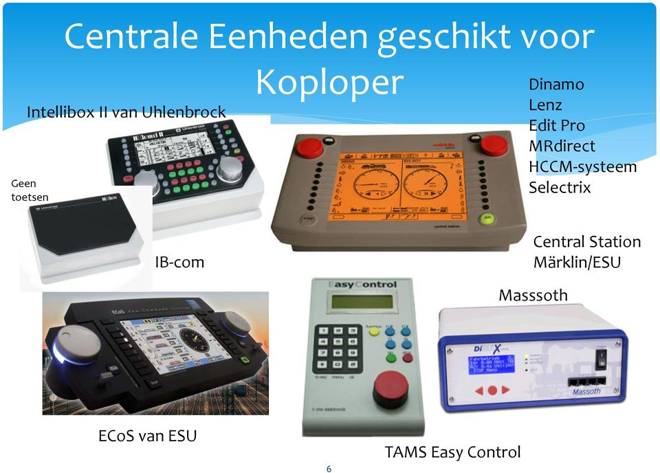 Pro MRdirect HCCM-systeem Selectrix IB-com Central