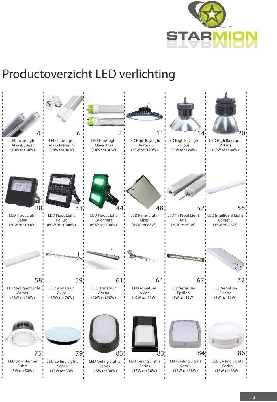 FloodLight Color Mira (60W tot 400W) LED Panel Light Alkes (45W tot 83W) LED Tri Proof Light Atik (20W tot 60W) LED Intelligent Light Comet S (15W tot 28W) LED Intelligent Light Comet (28W tot 50W)