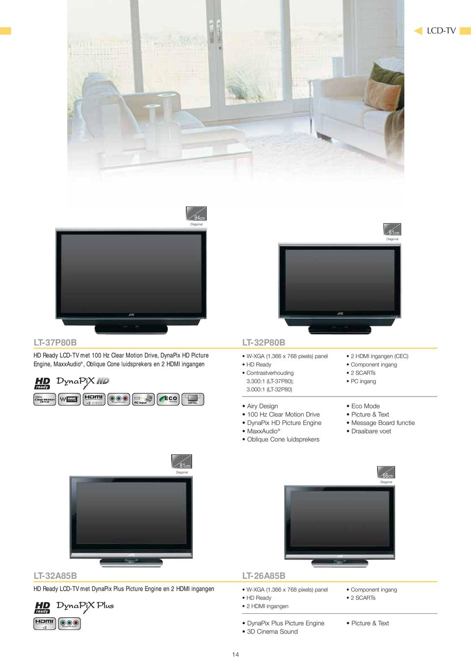 000:1 (LT-32P80) 2 HDMI ingangen (CEC) Component ingang 2 SCARTs PC ingang x2 (CEC) Airy Design 100 Hz Clear Motion Drive DynaPix HD Picture Engine MaxxAudio Oblique Cone luidsprekers Eco Mode
