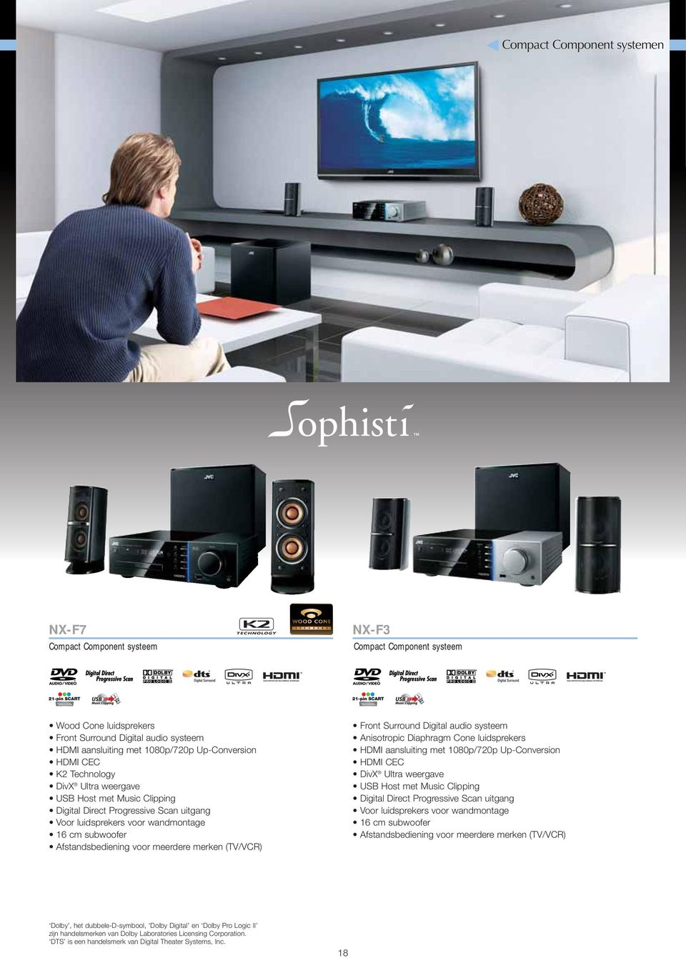 merken (TV/VCR) Front Surround Digital audio systeem Anisotropic Diaphragm Cone luidsprekers HDMI aansluiting met 1080p/720p Up-Conversion HDMI CEC DivX Ultra weergave USB Host met Music Clipping