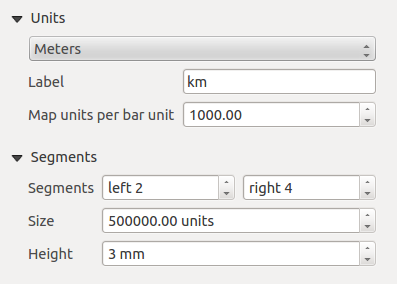 Main properties The Main properties dialog of the scalebar Item Properties tab provides following functionalities (see figure_composer_18): Figuur 18.