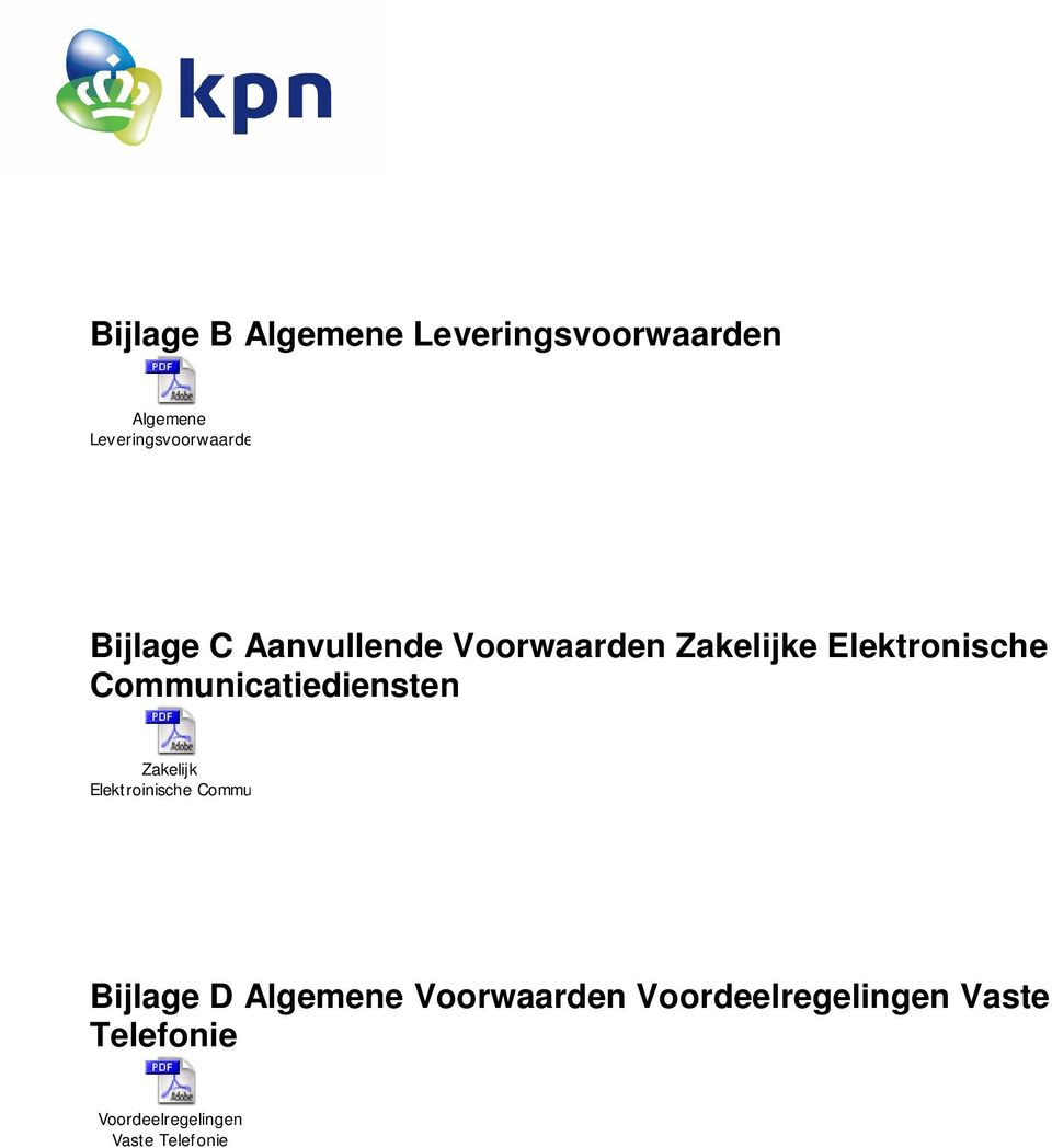 Communicatiediensten Zakelijk Elektroinische Communicatiediensten Bijlage