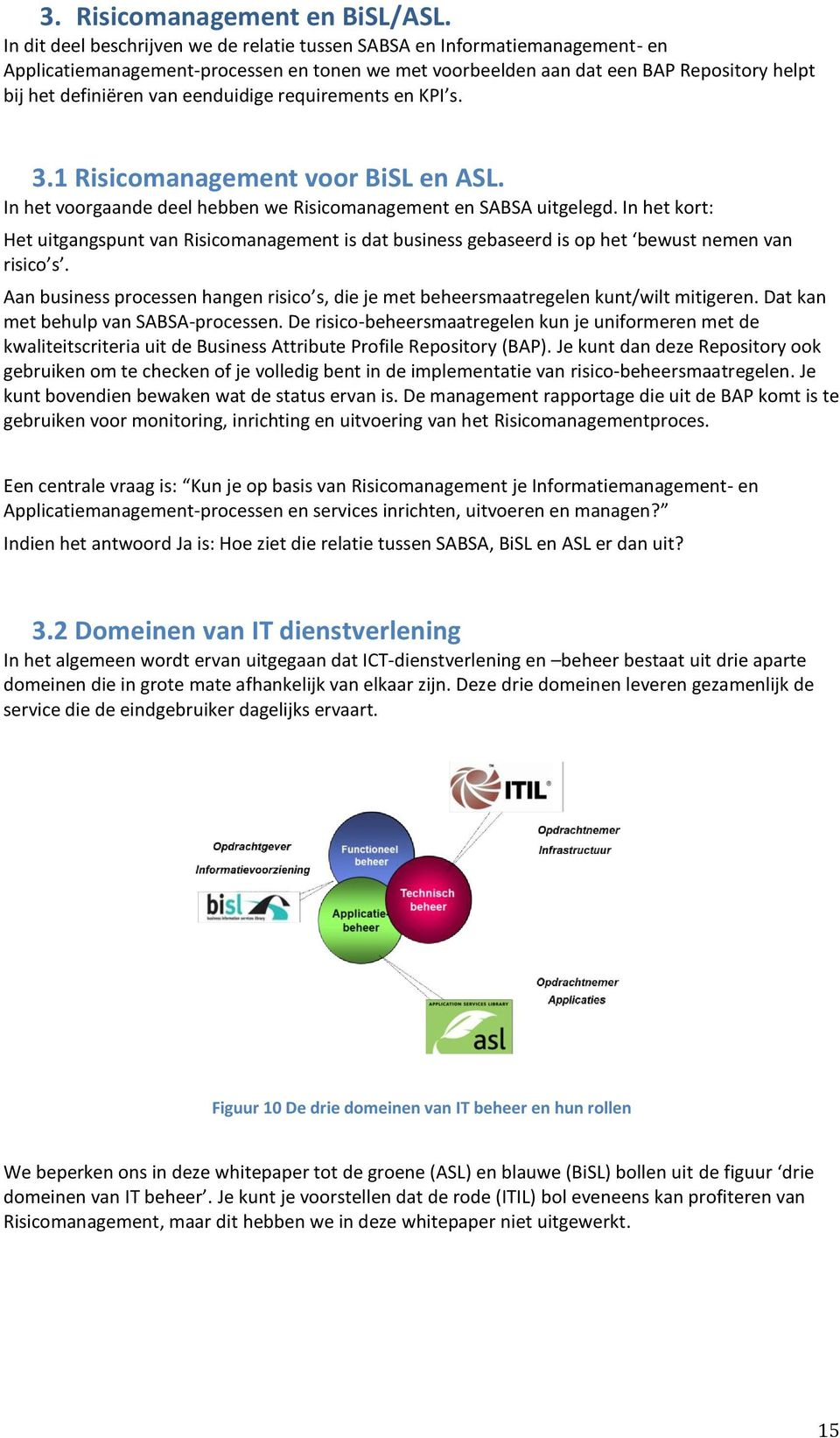 eenduidige requirements en KPI s. 3.1 Risicomanagement voor BiSL en ASL. In het voorgaande deel hebben we Risicomanagement en SABSA uitgelegd.