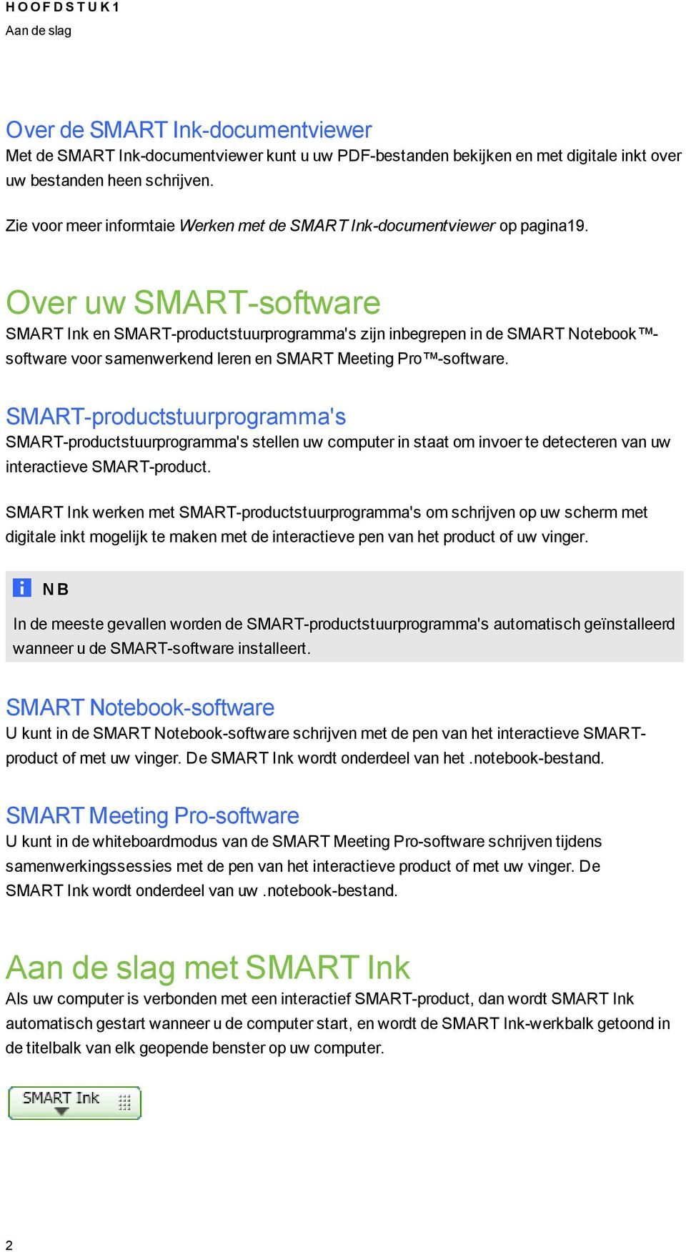 Over uw SMART-software SMART Ink en SMART-productstuurproramma's zijn inberepen in de SMART Notebook software voor samenwerkend leren en SMART Meetin Pro -software.