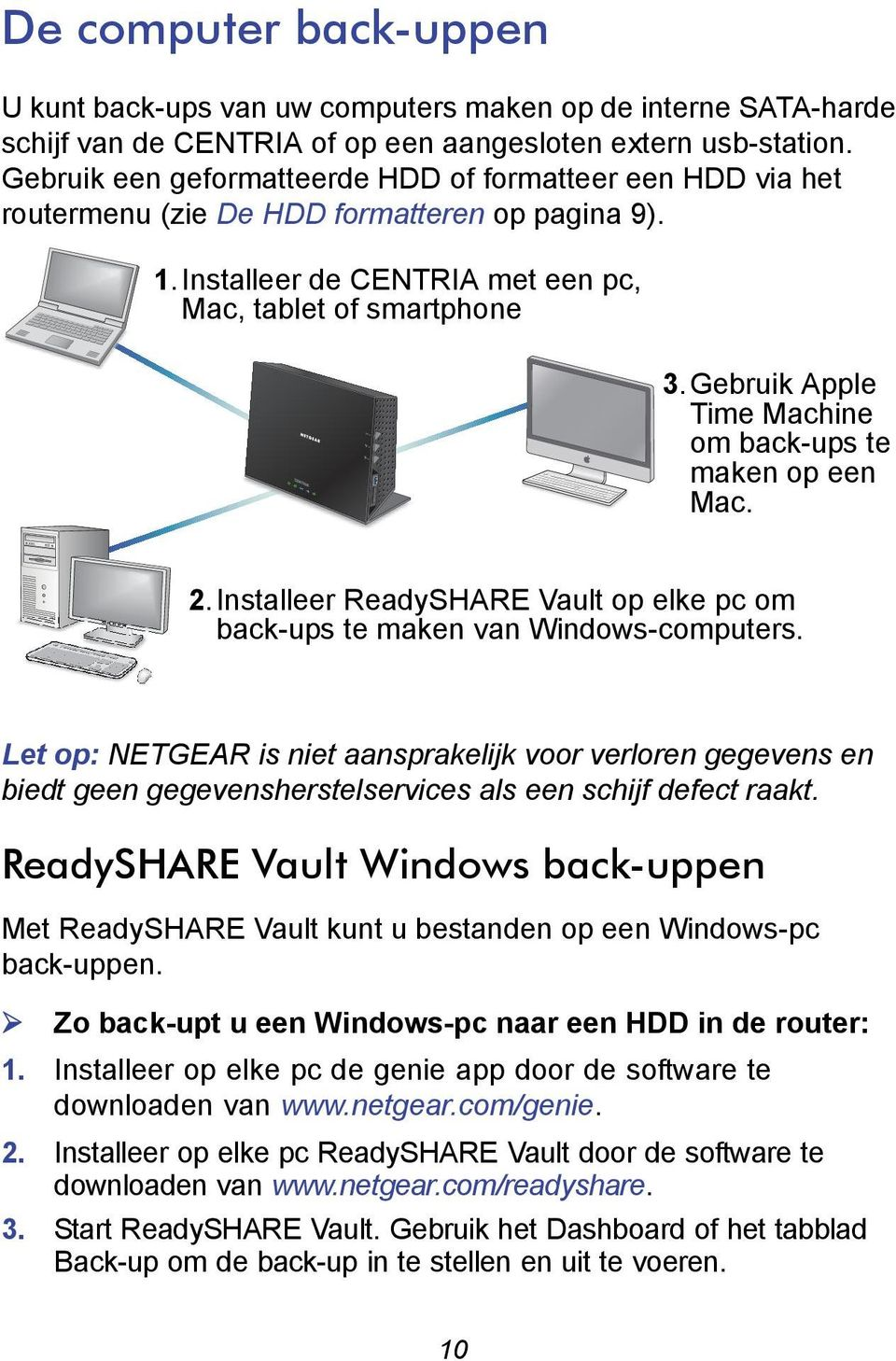 Gebruik Apple Time Machine om back-ups te maken op een Mac. 2.Installeer ReadySHARE Vault op elke pc om back-ups te maken van Windows-computers.