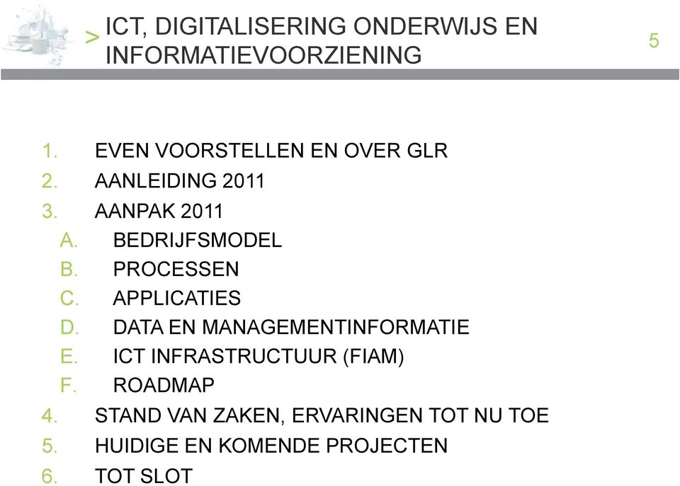 APPLICATIES D. DATA EN MANAGEMENTINFORMATIE E. ICT INFRASTRUCTUUR (FIAM) F.