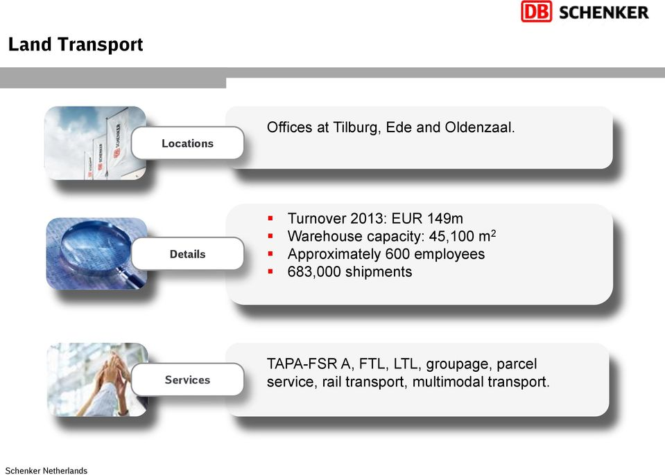 Approximately 600 employees 683,000 shipments Services TAPA-FSR A,