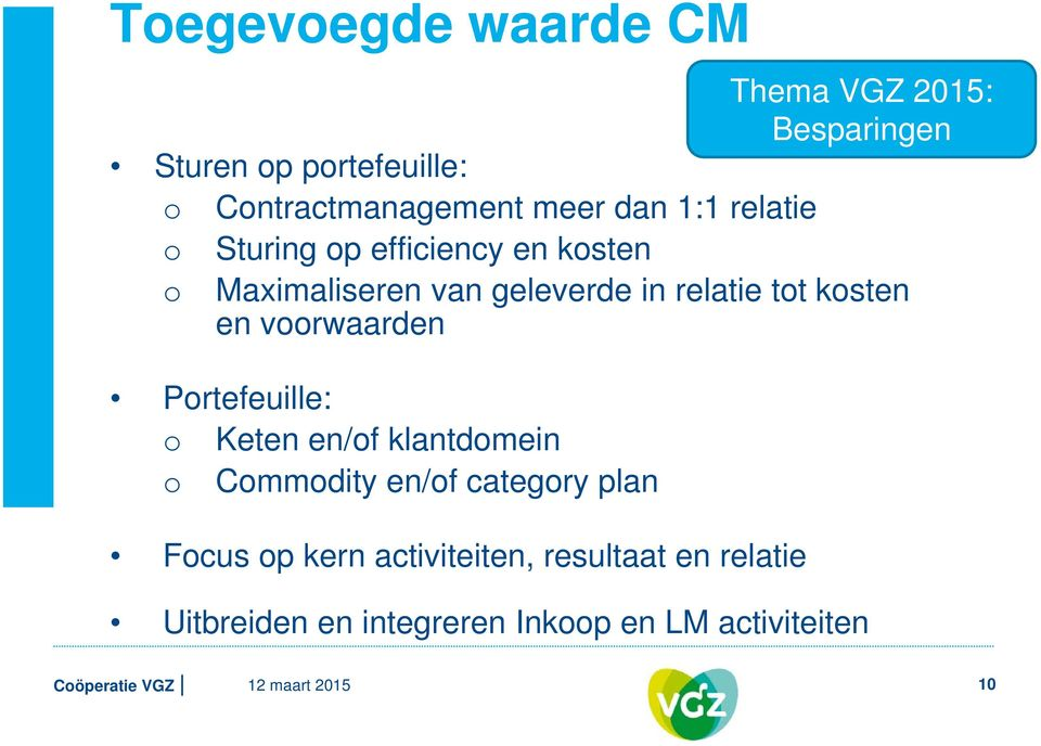 en voorwaarden Portefeuille: o Keten en/of klantdomein o Commodity en/of category plan Focus op kern