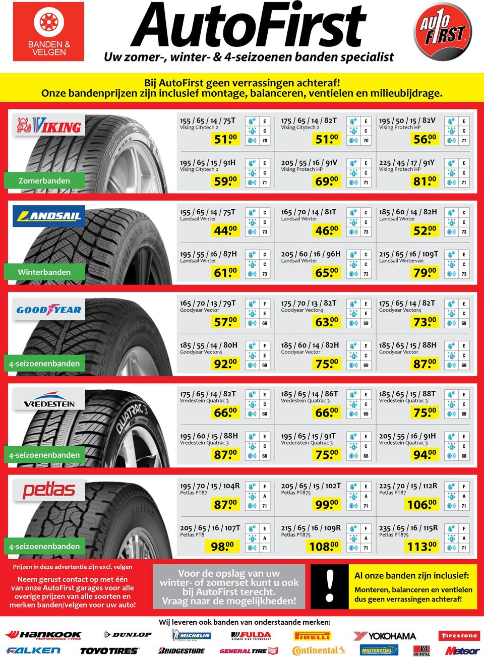 185 / 55 / 14 / 80H Goodyear Vector4 70 205 / 55 / 16 / 91V Viking Protech HP. 165 / 70 / 14 / 81T 46. 205 / 60 / 16 / 96H 65. 175 / 70 / 13 / 82T Goodyear Vector4 63.