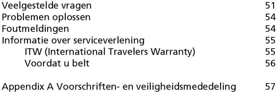 ITW (International Travelers Warranty) 55 Voordat u
