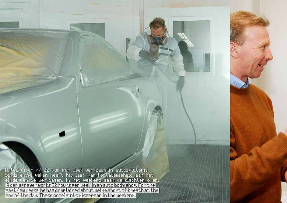 A car sprayer works 32 hours per week in an auto body shop.