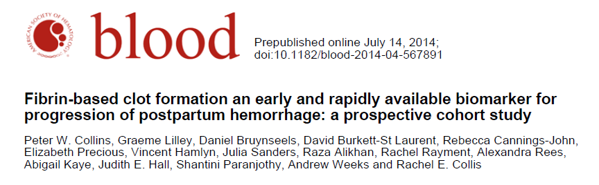 Key Points Fibtem is an early and rapidly available biomarker for predicting progression of moderate to severe postpartum haemorrhage A5 Fibtem < 10 mm