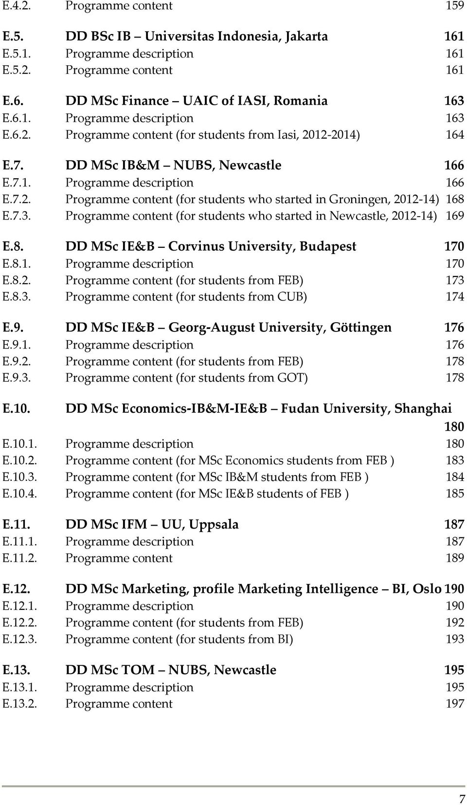 7.3. Programme content (for students who started in Newcastle, 2012-14) 169 E.8. DD MSc IE&B Corvinus University, Budapest 170 E.8.1. Programme description 170 E.8.2. Programme content (for students from FEB) 173 E.