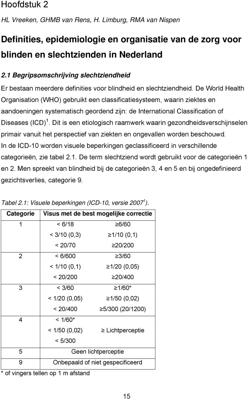 De World Health Organisation (WHO) gebruikt een classificatiesysteem, waarin ziektes en aandoeningen systematisch geordend zijn: de International Classification of Diseases (ICD) 1.