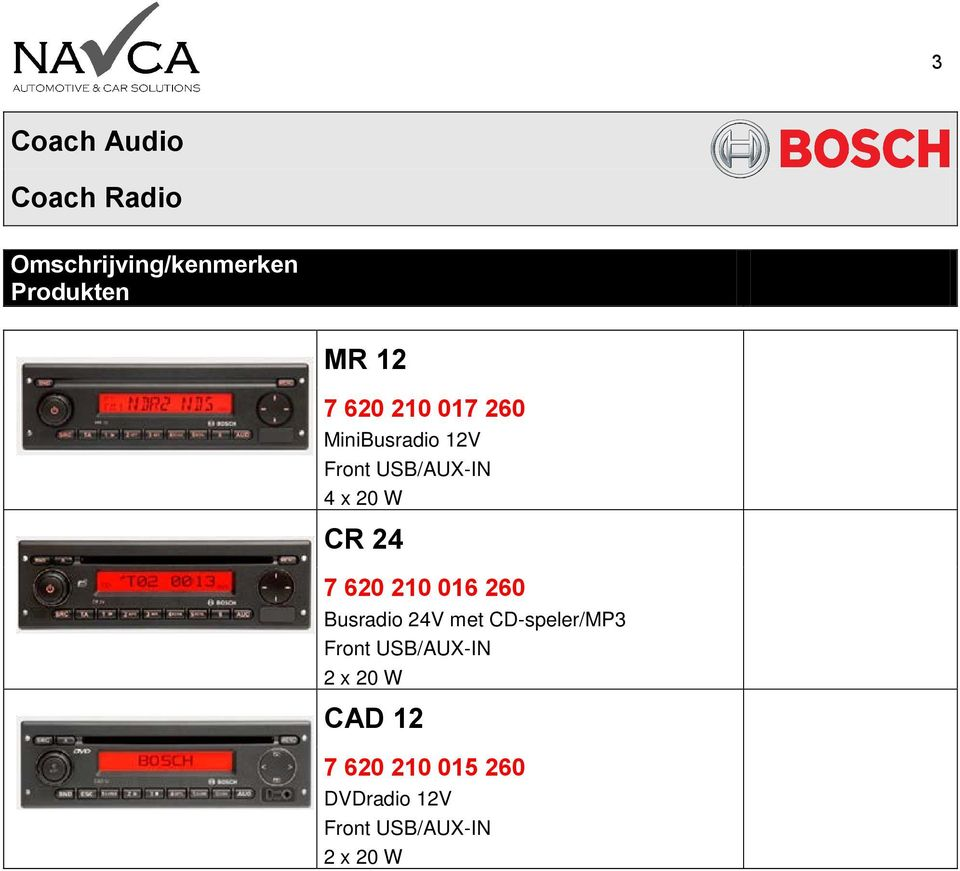 260 Busradio 24V met CD-speler/MP3 Front USB/AUX-IN