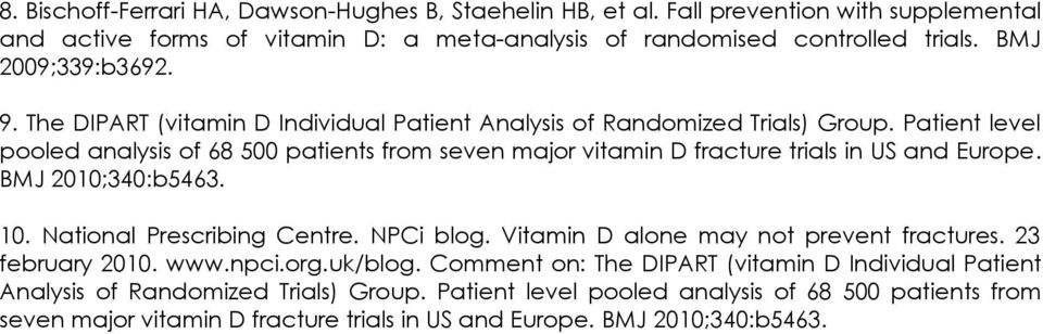 Patient level pooled analysis of 68 500 patients from seven major vitamin D fracture trials in US and Europe. BMJ 2010;340:b5463. 10. National Prescribing Centre. NPCi blog.