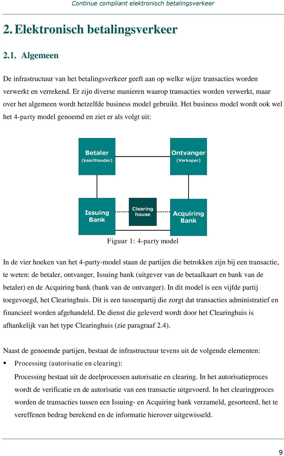 Het business model wordt ook wel het 4-party model genoemd en ziet er als volgt uit: Betaler (kaarthouder) Ontvanger (Verkoper) Issuing Bank Clearing house Acquiring Bank Figuur 1: 4-party model In
