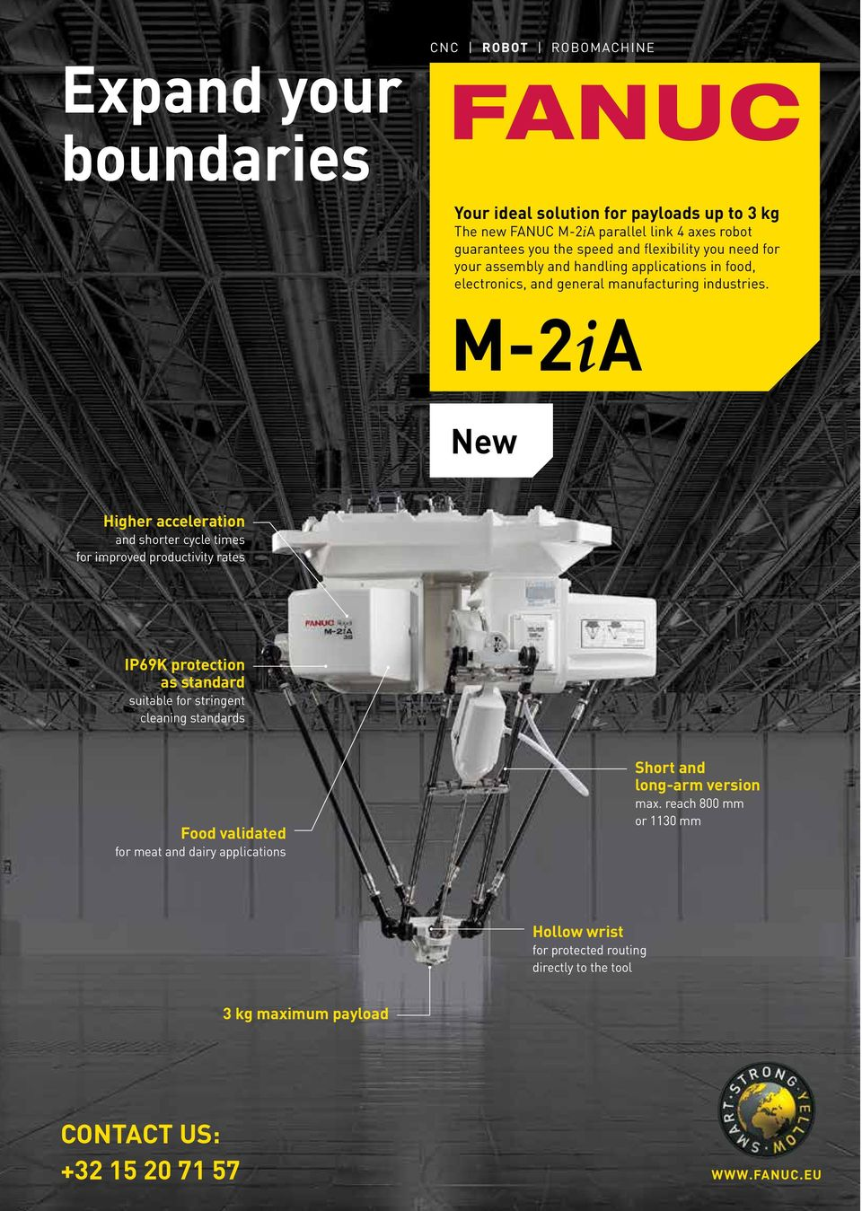 M-2ia new Higher acceleration and shorter cycle times for improved productivity rates IP69K protection as standard suitable for stringent cleaning standards food