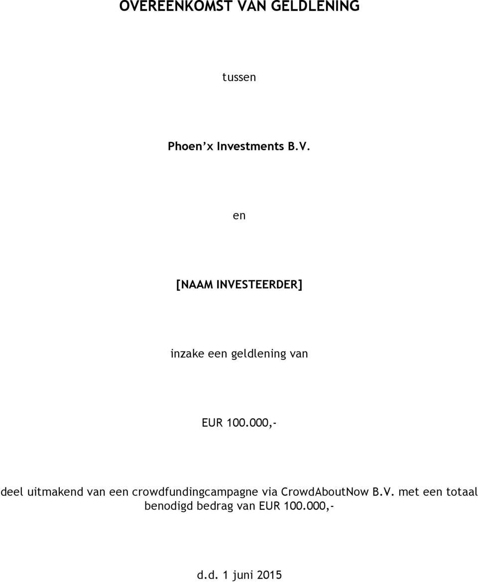 standaard contract lening