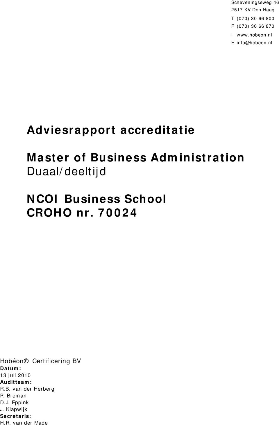 nl Adviesrapport accreditatie Master of Business Administration Duaal/deeltijd NCOI