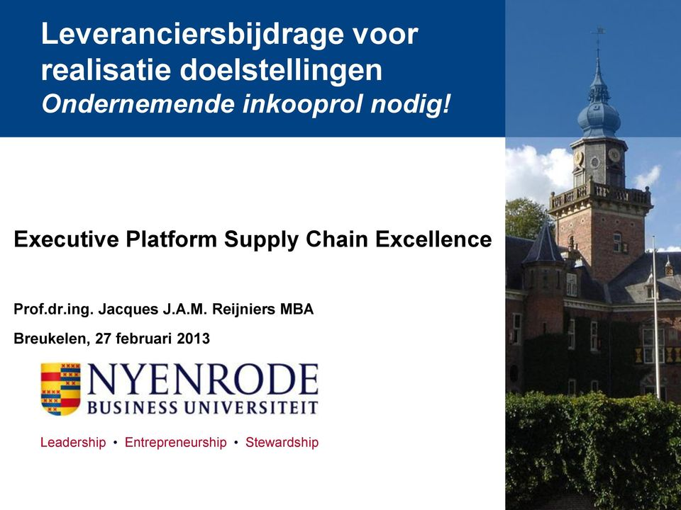 Executive Platform Supply Chain Excellence Prof.dr.ing.