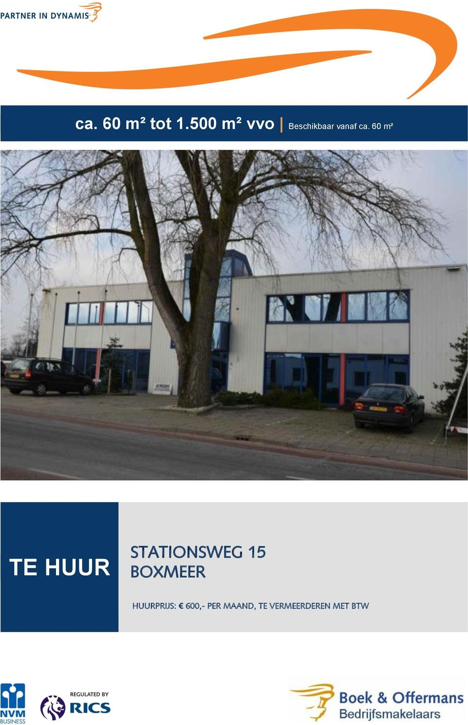 60 m² TE HUUR STATIONSWEG 15