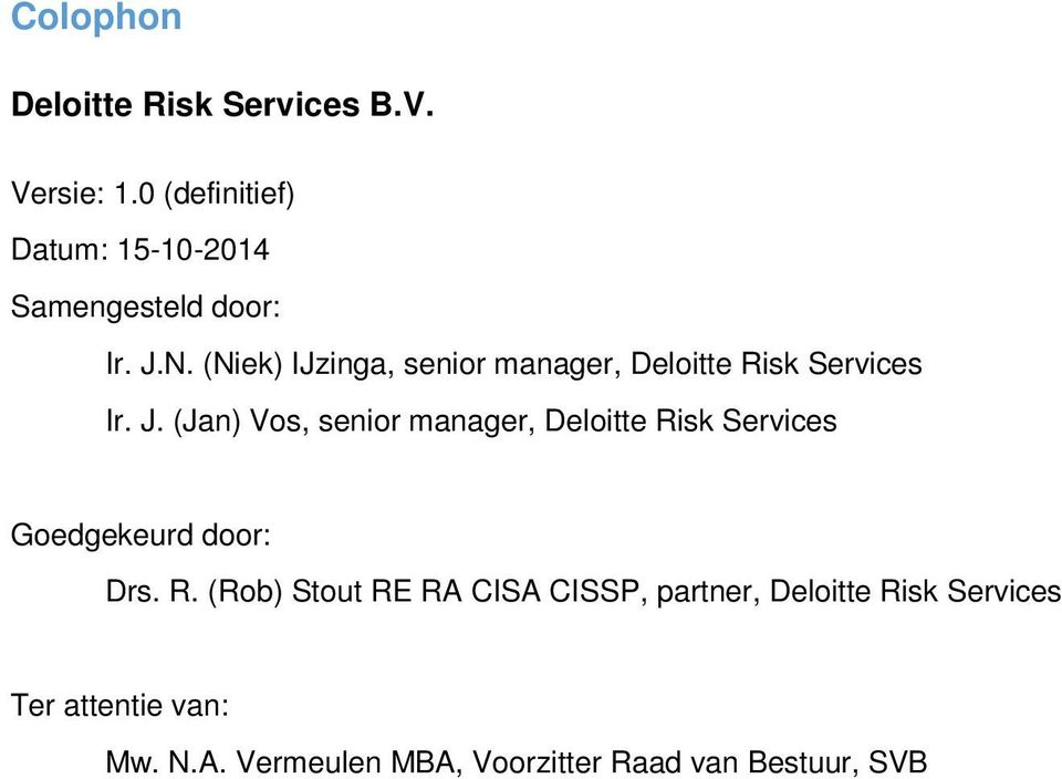 (Niek) IJzinga, senior manager, Deloitte Risk Services Ir. J.