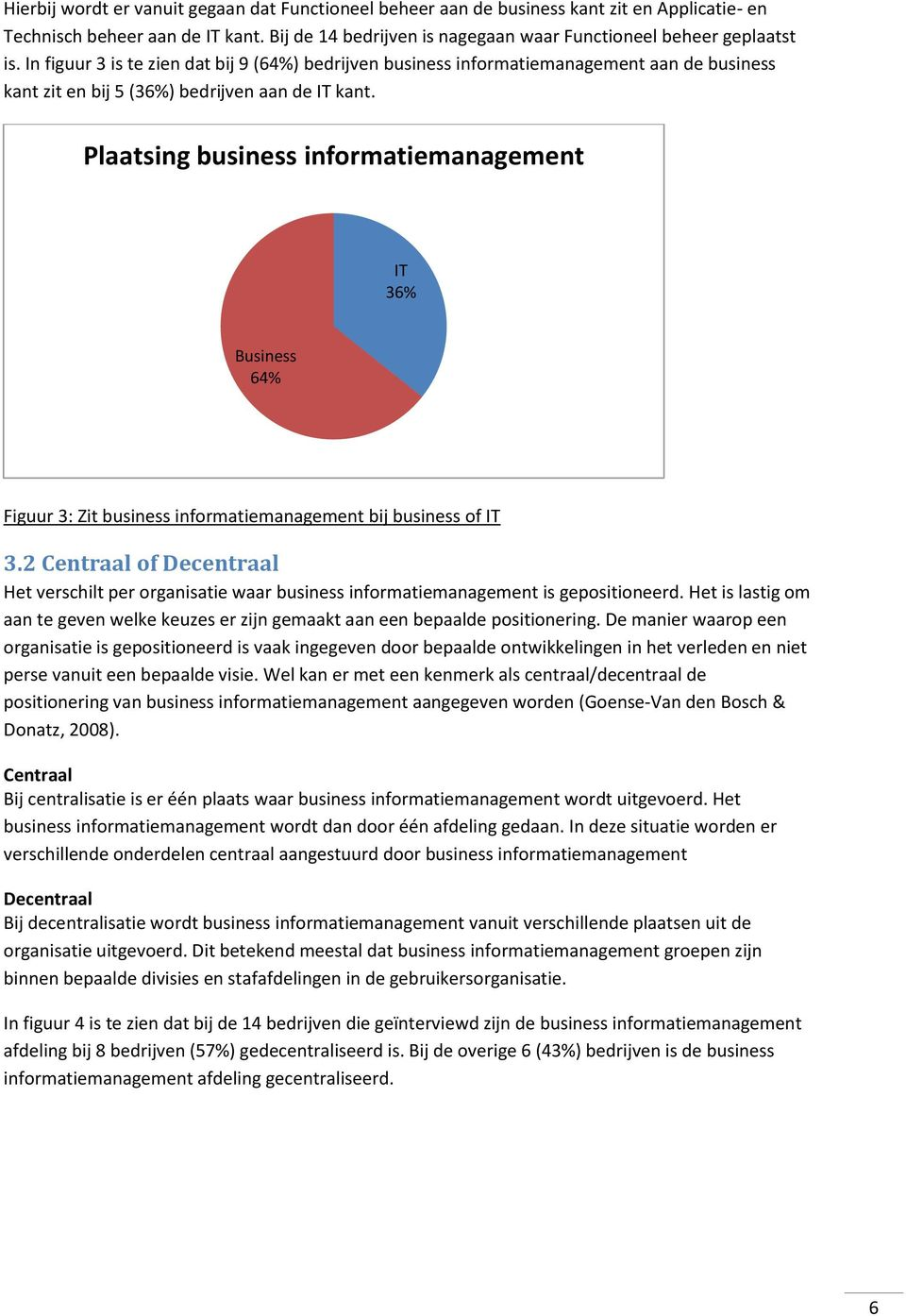 Plaatsing business informatiemanagement T 36% Business 64% Figuur 3: Zit business informatiemanagement bij business of T 3.