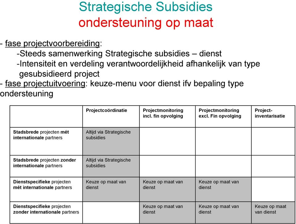 Fin opvolging Projectinventarisatie Stadsbrede projecten mét internationale partners Altijd via Strategische subsidies Stadsbrede projecten zonder internationale partners Altijd via Strategische
