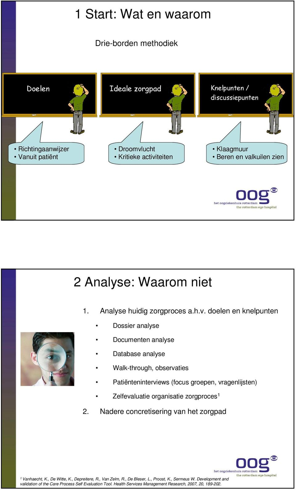 doelen en knelpunten Dossier analyse Documenten analyse Database analyse Walk-through, observaties Patiënteninterviews (focus groepen, vragenlijsten) Zelfevaluatie
