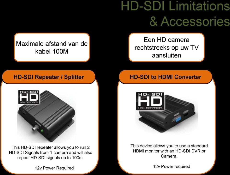 run 2 HD-SDI Signals from 1 camera and will also repeat HD-SDI signals up to 100m.