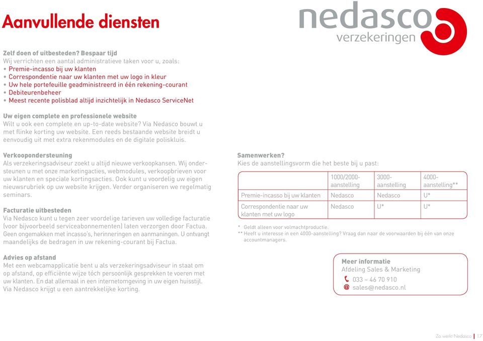 één rekening-courant Debiteurenbeheer Meest recente polisblad altijd inzichtelijk in Nedasco ServiceNet Uw eigen complete en professionele website Wilt u ook een complete en up-to-date website?