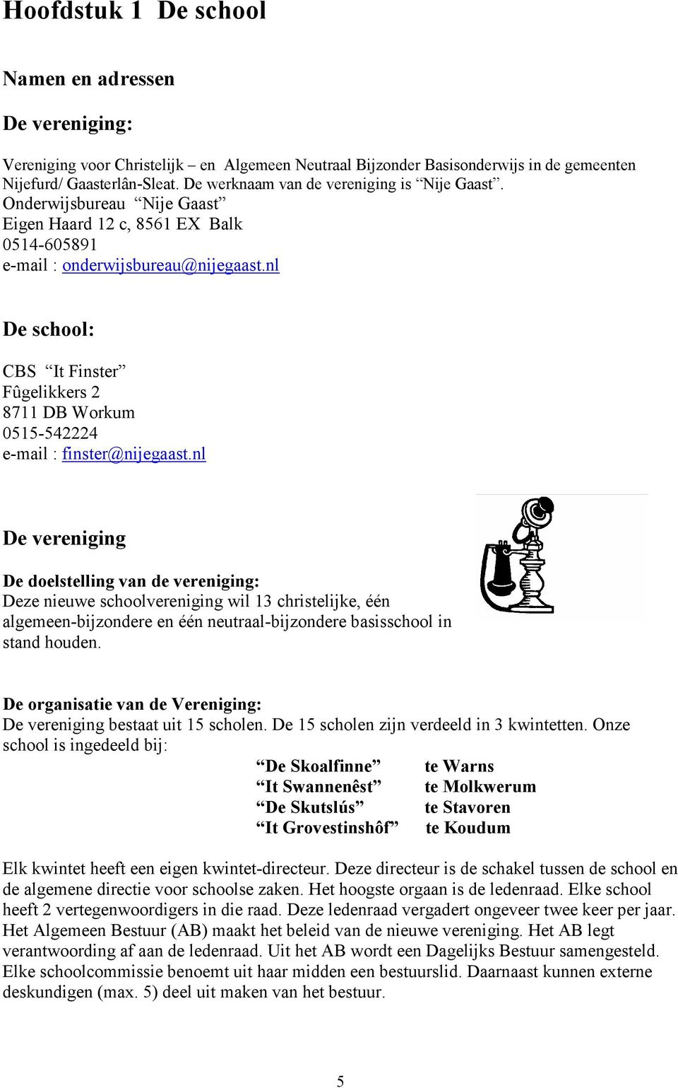 nl De school: CBS It Finster Fûgelikkers 2 8711 DB Workum 0515-542224 e-mail : finster@nijegaast.