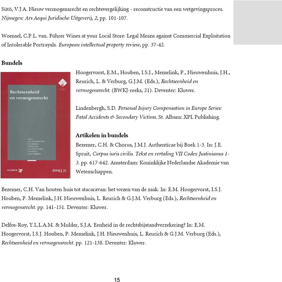 (BWKJ-reeks, 21). Deventer: Kluwer. Lindenbergh, S.D. Personal Injury Compensation in Europe Series: Fatal Accidents & Secondary Victims. St. Albans: XPL Publishing. Artikelen in bundels Bezemer, C.H.