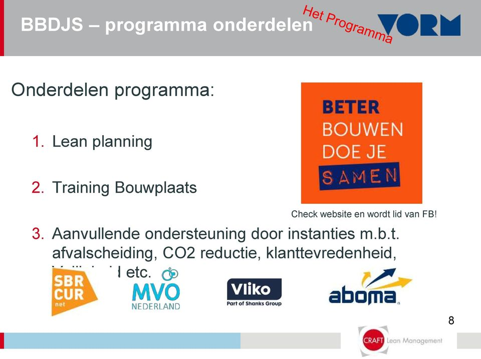 Training Bouwplaats Check website en wordt lid van FB! 3.
