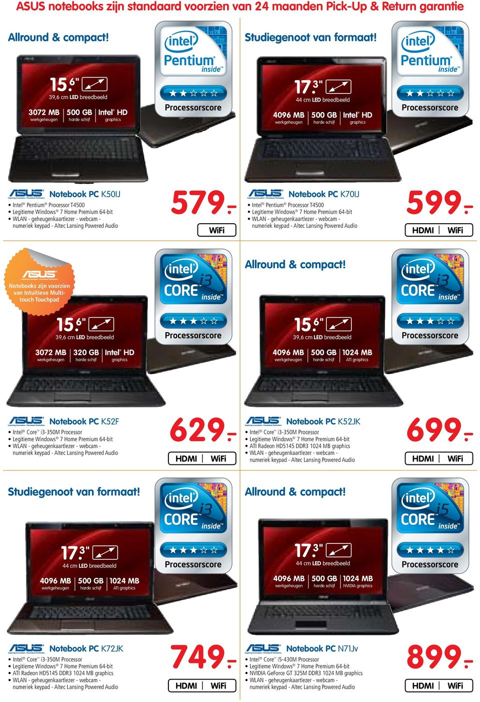 - Intel Pentium Processor T4500 WiFi Allround & compact!