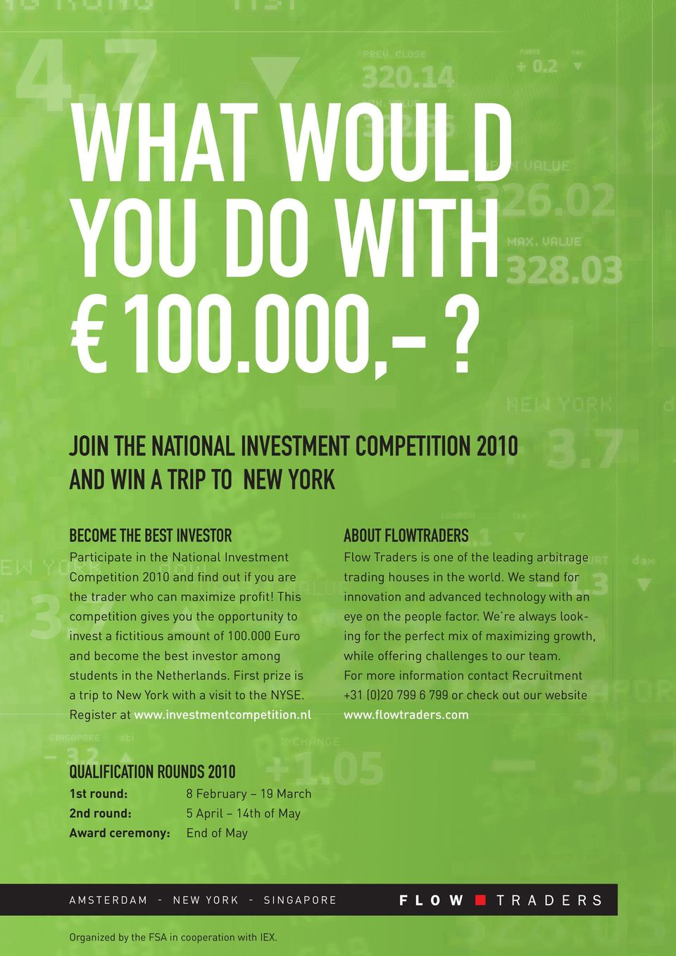 Competition 2010 and find out if you are the trader who can maximize profit! This competition gives you the opportunity to invest a fictitious amount of 100.
