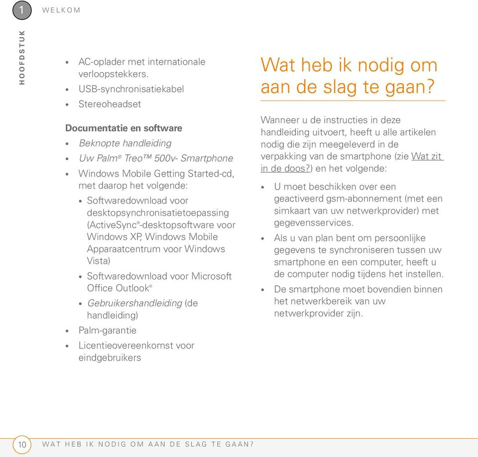 desktopsynchronisatietoepassing (ActiveSync -desktopsoftware voor Windows XP, Windows Mobile Apparaatcentrum voor Windows Vista) Softwaredownload voor Microsoft Office Outlook Gebruikershandleiding