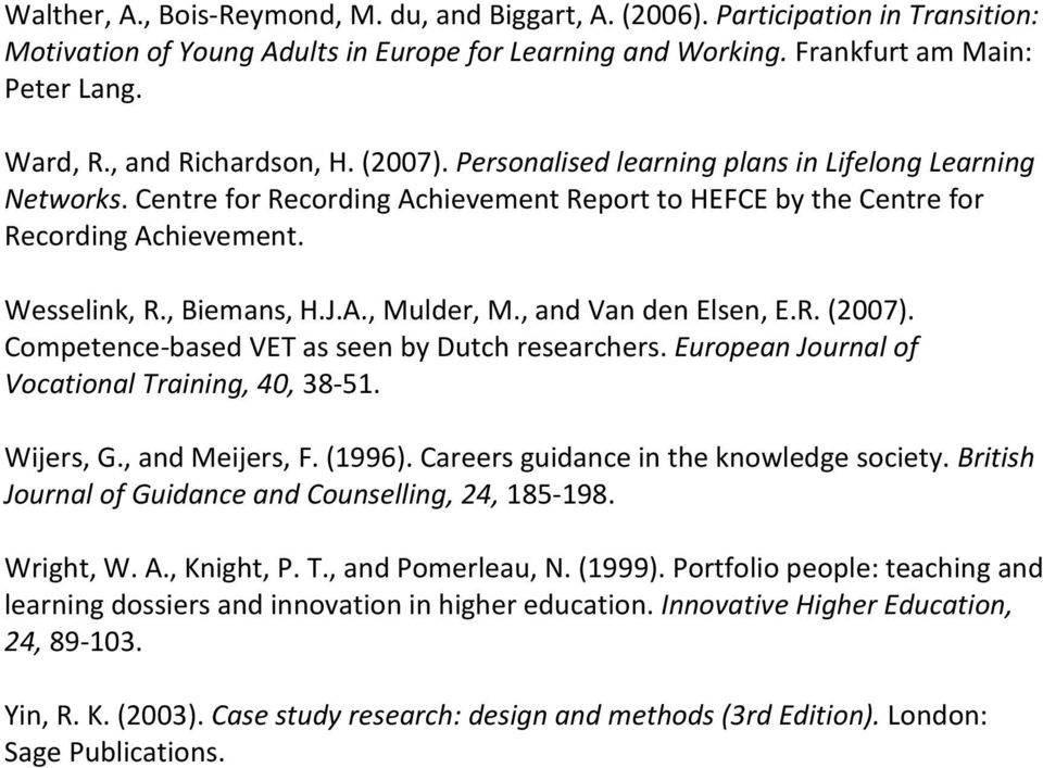 , Biemans, H.J.A., Mulder, M., and Van den Elsen, E.R. (2007). Competence-based VET as seen by Dutch researchers. European Journal of Vocational Training, 40, 38-51. Wijers, G., and Meijers, F.