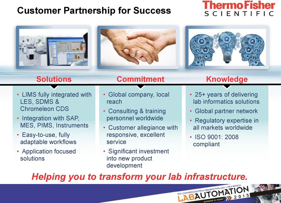Customer allegiance with responsive, excellent service Significant investment into new product development 25+ years of delivering lab informatics