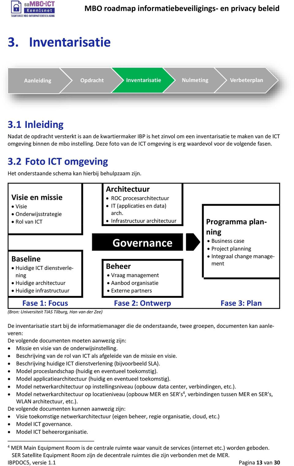 Visie en missie Visie Onderwijsstrategie Rol van ICT Baseline Huidige ICT dienstverlening Huidige architectuur Huidige infrastructuur Architectuur ROC procesarchitectuur IT (applicaties en data) arch.