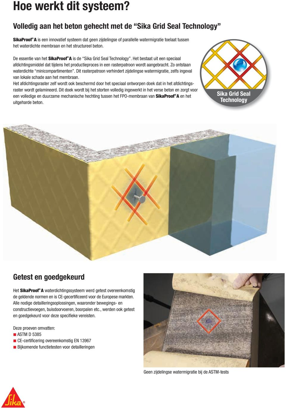 structureel beton. De essentie van het SikaProof A is de Sika Grid Seal Technology.