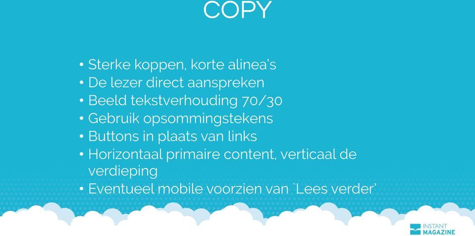 opsommingstekens Buttons in plaats van links Horizontaal