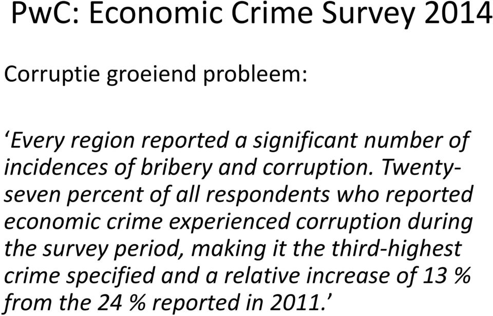 Twentyseven percent of all respondents who reported economic crime experienced corruption